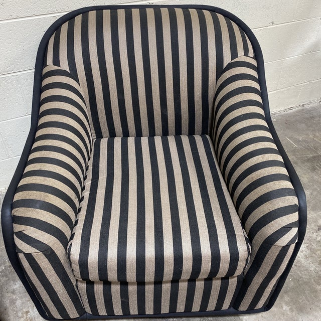 """1990s """"Fendi"""" Striped Club Chair's - a Pair For Sale - Image 5 of 12"""