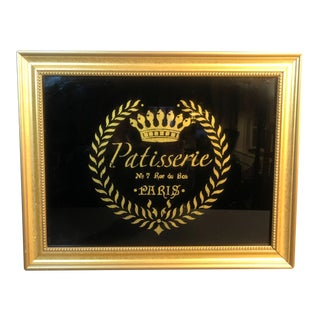 French Bakery Patisserie Sign Reverse Painted Black Glass With Gold in Gold Frame, Paris For Sale