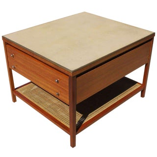 1960s Mid-Century Modern Paul McCobb for Calvin Leather Top Occasional Table For Sale