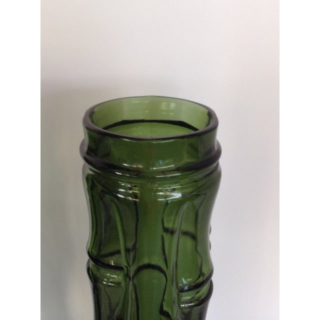 Vintage Faux Bamboo Green Glass Vases - A Pair - Image 3 of 5