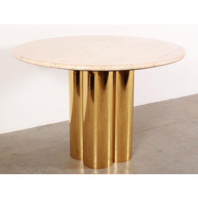 Contemporary Mid Century Modern Mastercraft Polished Brass Quatrefoil & Travertine Dining or Game Table For Sale - Image 3 of 11