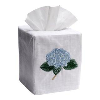 Blue Hydrangea Tissue Box Cover White Linen & Cotton, Embroidered
