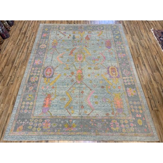 Blue Turkish Oushak Rug For Sale - Image 8 of 8