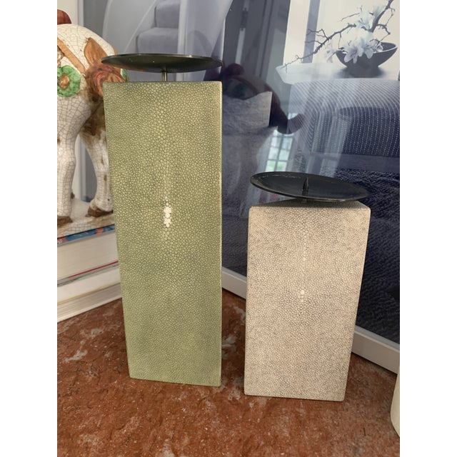Shagreen Candlesticks - R & Y Agousti - a Pair For Sale - Image 10 of 10