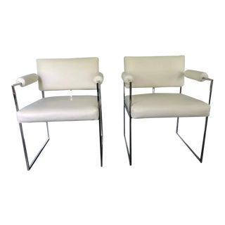 Mid-Century Modern Milo Baughman Cream Leather and Chrome Armchairs - a Pair For Sale