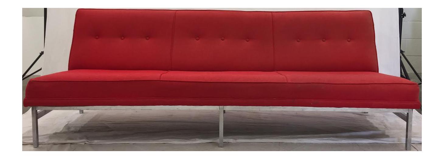 Mid Century Modern Red Tweed Chrome Sofa Chairish