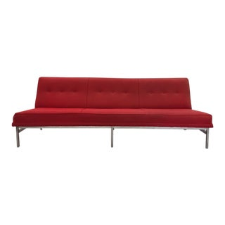 Mid-Century Modern Red Tweed & Chrome Sofa For Sale