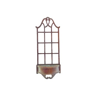 Vintage Trellis Sheraton-Style Wall Cachepot For Sale