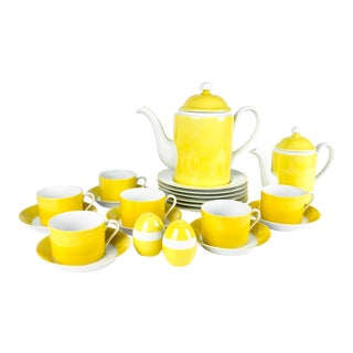 Mid Century Lemon Porcelain Luncheon Service - Set of 30 For Sale