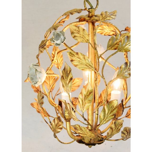 Vintage Three-Arm/Light Italian Gold Gilt Ball Tole Chandelier For Sale In Los Angeles - Image 6 of 11