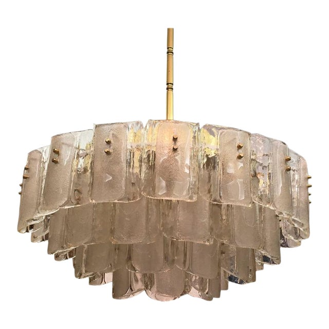 Large Crystal Glass Chandelier, 1960s For Sale