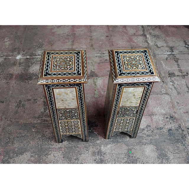 """Mediterranean Syrian Pair of Vintage """"Tower Shaped"""" Petite Inlaid Stands For Sale - Image 3 of 10"""