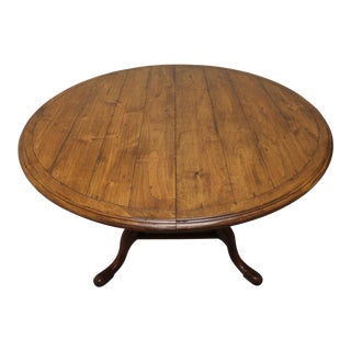 Cottage Style Round Distressed Pine Dining Table For Sale