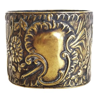 Late 19th Century Antique French Rococo Repoussé Brass Napkin Ring For Sale