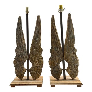 "Pair Gilt Wood ""Wing"" Lamps For Sale"