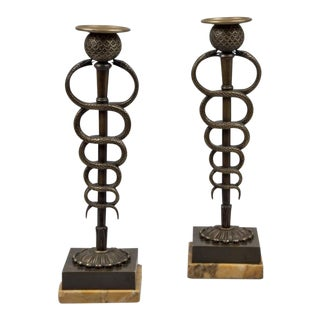 Pair of French Bronze Serpent Candlesticks For Sale