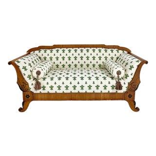 "19th Century Biedermeier Parcel Ebonized Walnut Sofa in Beata Heuman ""Florentine Flowers"""