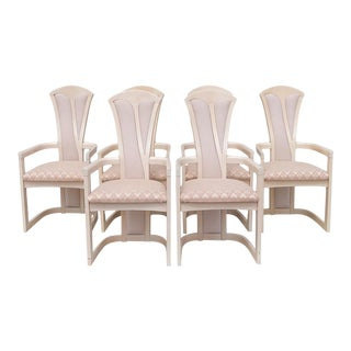 1980s Vintage Pink Upholstered Italian High-Back Sculptural Dining Chairs - Set of 6 For Sale
