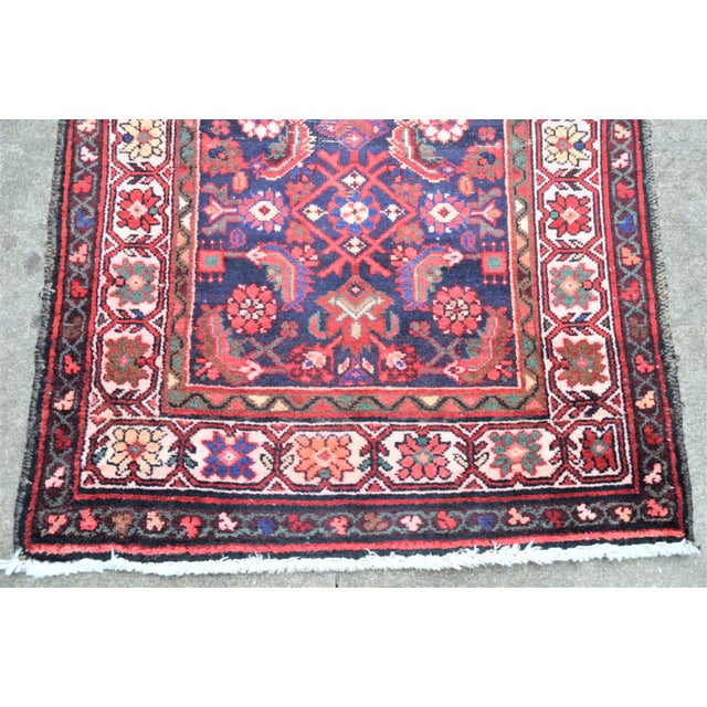Vintage Mid-Century Floral Persian Hamedan Runner - 3′3″ × 9′7″ For Sale - Image 9 of 11