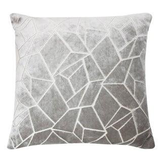 """Modern Silver Velvet """"Elizabeth"""" Pillow - 22x22"""""""