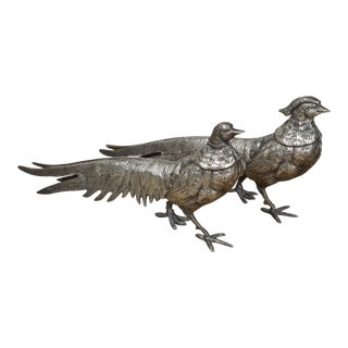 Silvered Cast Metal Pheasants- a Pair For Sale