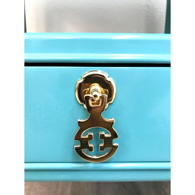 Turquoise Kent Coffey Turquoise Lacquered End Tables - A Pair For Sale - Image 8 of 12