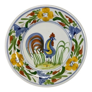 Italian Hand Painted Rooster Plate For Sale
