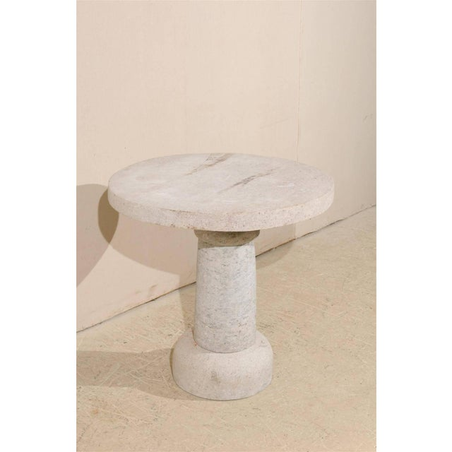 Round Granite Contemporary Indoor/Outdoor Pedestal Table, Handmade For Sale In Atlanta - Image 6 of 8