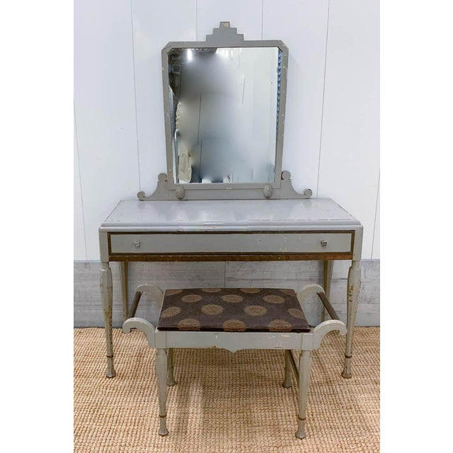 Antique Art Deco Desk, Vanity, Mirror and Chair, Signed Luce Furniture For Sale - Image 13 of 13