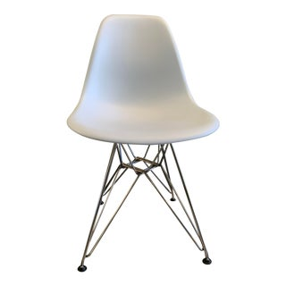 Eames Blue Ice Molded Plastic Wire Based Side Chair For Sale