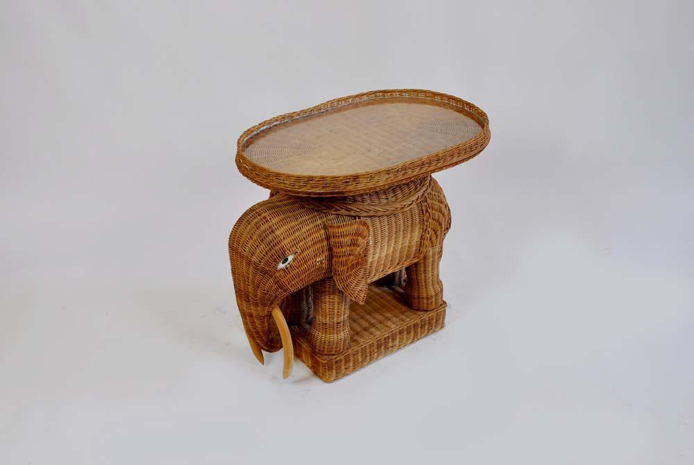 Vintage Rattan Wicker Elephant Side Table   Image 6 Of 7