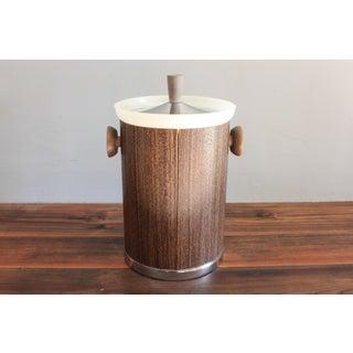 Mid Century Danish Style Ice Bucket Faux Woodgrain by Kromex Preview