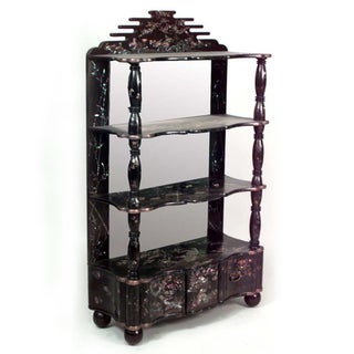 Asian Chinese Style Black Lacquered Chinoiserie Design 4 Shelf Etagere