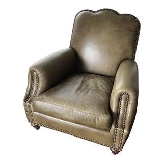 Modern Dark Green Leather Armchair For Sale