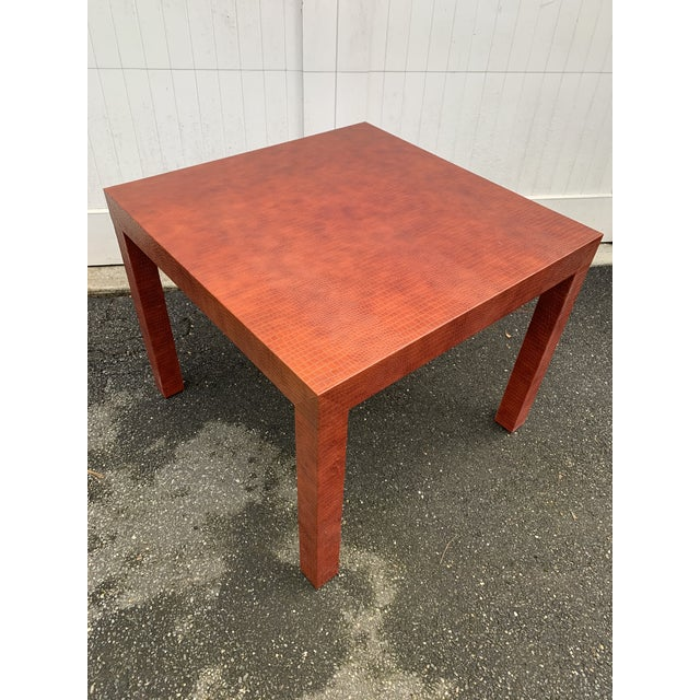 Wrapped Faux Crocodile Parsons Side Table For Sale - Image 11 of 13