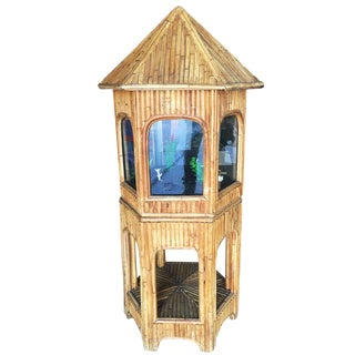 Rare Restored Chinese Hut Rattan Aquarium Fish Tank With Stand For Sale