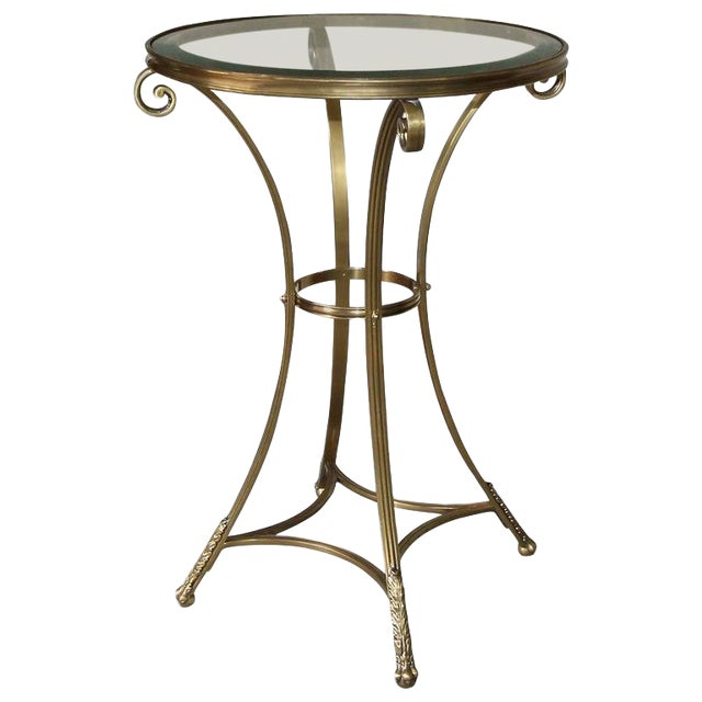 1980s Vintage Gueridon Brass Paw Footed Table For Sale