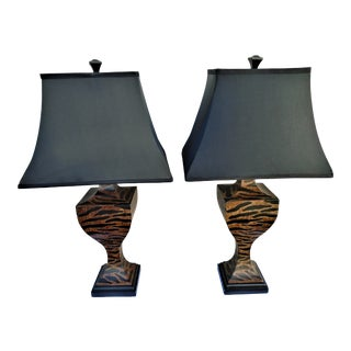 Traditional Table Lamps with Black Silk Shades- a Pair For Sale