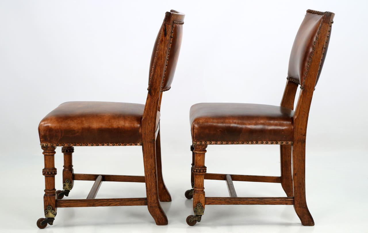 1900 Antique English Carved Oak and Leather Side Chairs - a Pair - Image 3 of  sc 1 st  Chairish & 1900 Antique English Carved Oak and Leather Side Chairs - a Pair ...