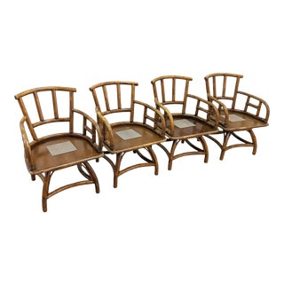 1980s Boho Chic Rattan Retractable Swivel Chair Frames - Set of 4 For Sale