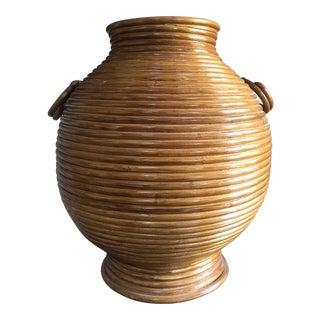 Large Italian Crespi Style Rattan Floor Vase
