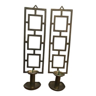 Mid Century Indian Nora Fenton Brass Wall Sconce Candle Holder - A Pair