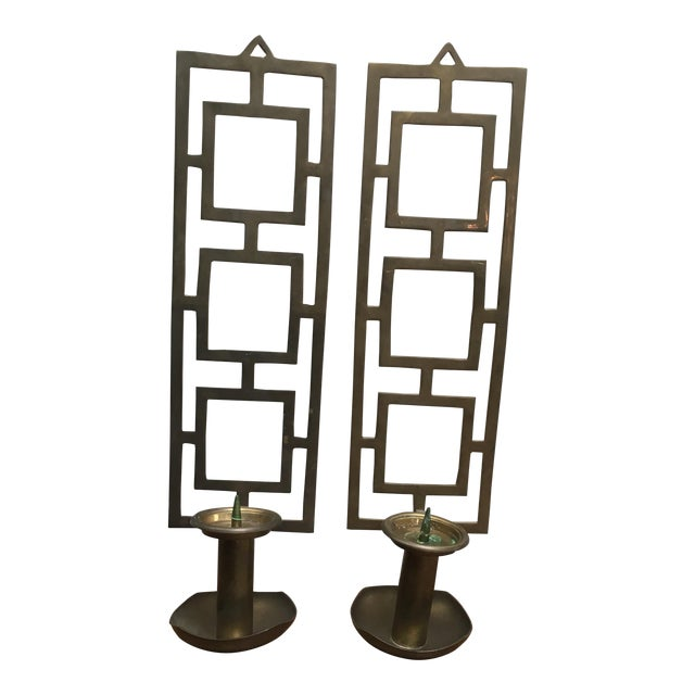 Mid Century Indian Nora Fenton Brass Wall Sconce Candle Holder - A Pair For Sale
