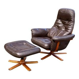 Mid Century Modern Scandinavian Gote Möbel Leather Recliner & Ottoman For Sale
