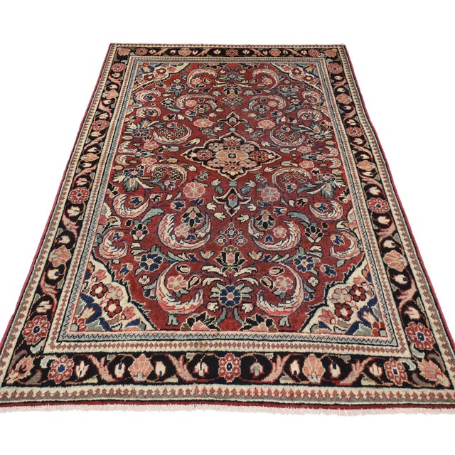 """Rustic Vintage Persian Mahal Rug - 4'5"""" x 6'10"""" For Sale - Image 3 of 4"""