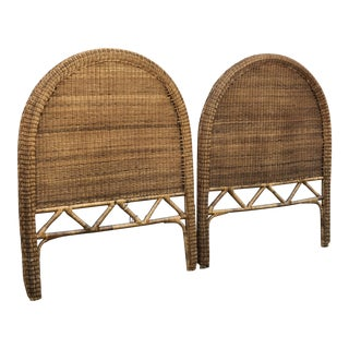 Vintage Boho Chic Rattan Twin Headboards - a Pair For Sale