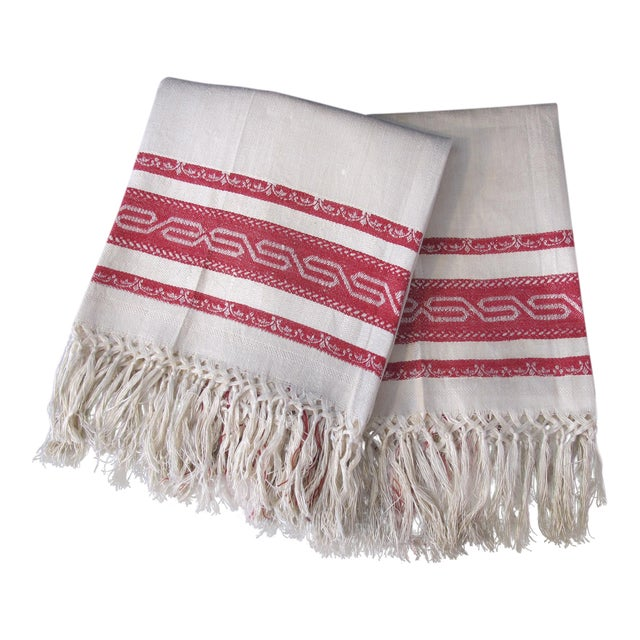 Antique Red Striped Tea Towels - a Pair For Sale