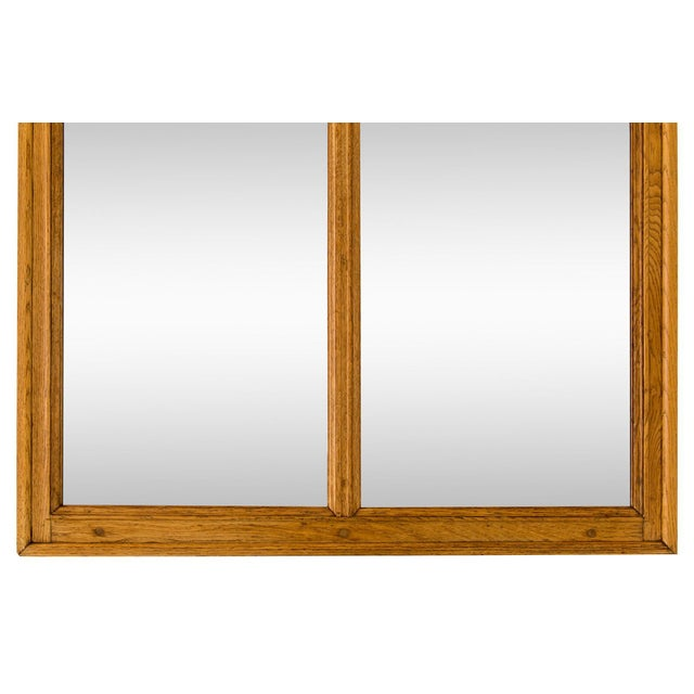 1920s Large Oak Mirror W/ Stained Glass Ermine For Sale - Image 5 of 8