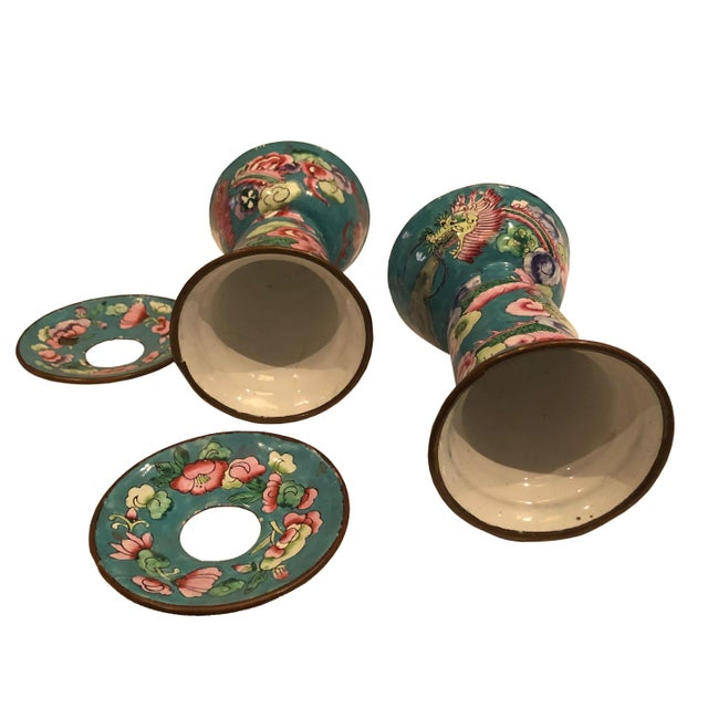 Antique Chinese Enamel Candleholders - a Pair For Sale - Image 4 of 5
