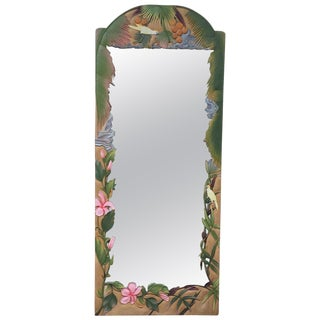 Hand Carved Wood Full Length Wall Mirror For Sale